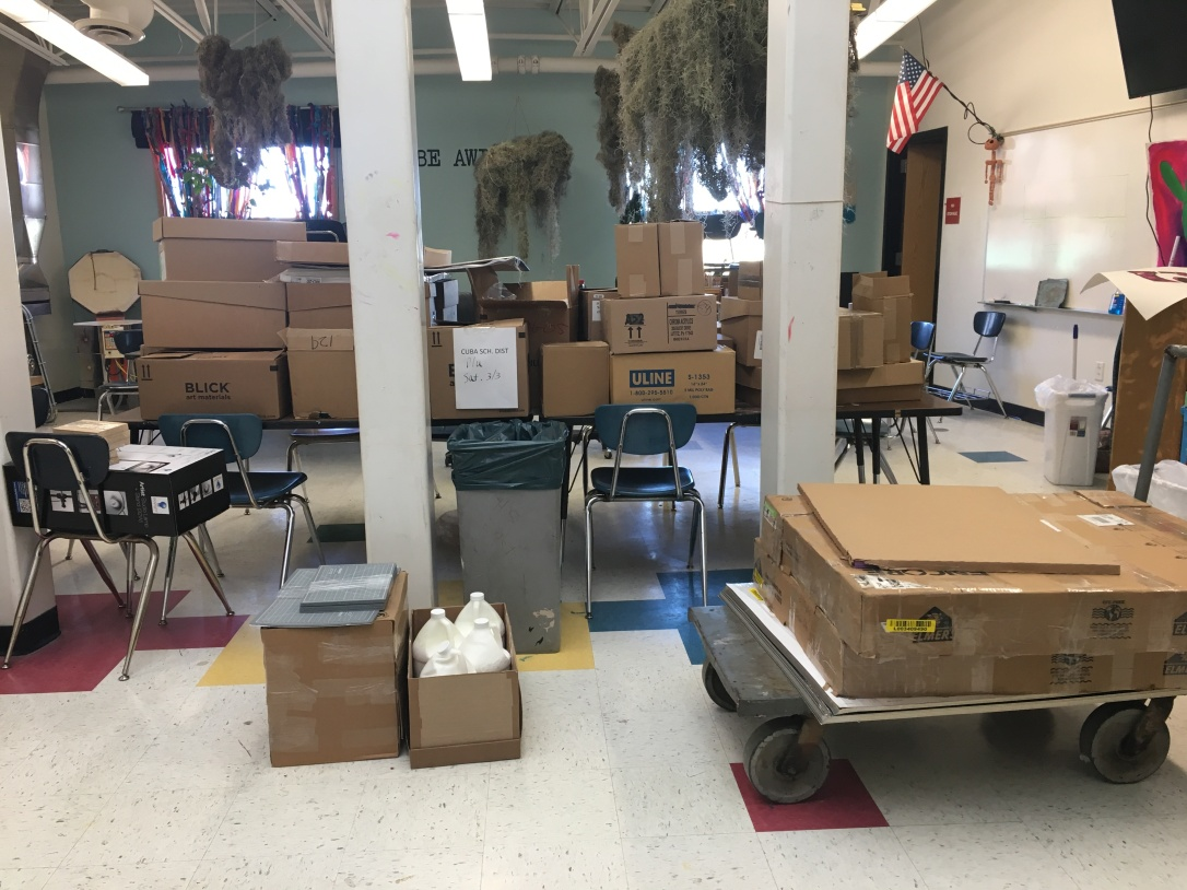 Boxes of art supply donations