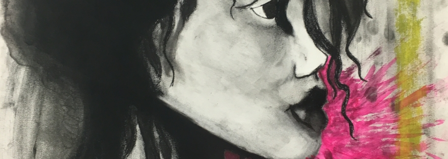 charcoal of a girl profile
