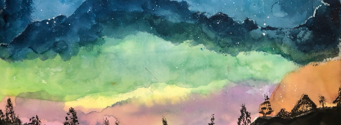 water color nigh sky